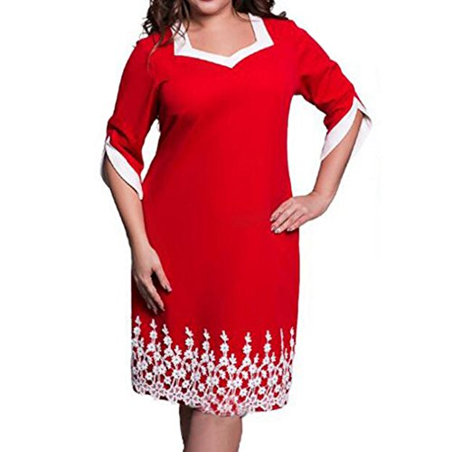 hibote Frauen Cocktail Abendkleid Plus Size Langarm Stitching Midi ...