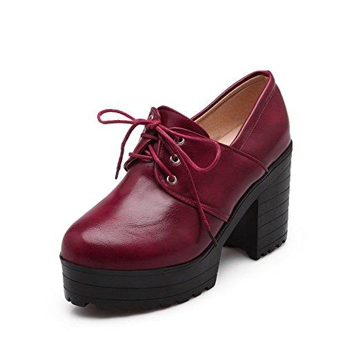 Amoonyfashion Femmes Bout Rond Fermé Talons Hauts Lacets Chaussures-chaussures Rouges