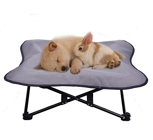 Portable Dog Cot Elevated Pet Bed for Dogs Cat Travel PUPTECK (Grey)