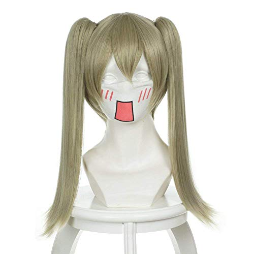 Wgior Soul Eater Maka Albarn Cosplay Wig Anime Costume Synthetic Straight Clip on Ponytails Hair