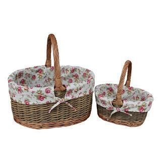 Set of 2 Garden Rose Lined Childs Country Oval Wicker Shopping Baskets