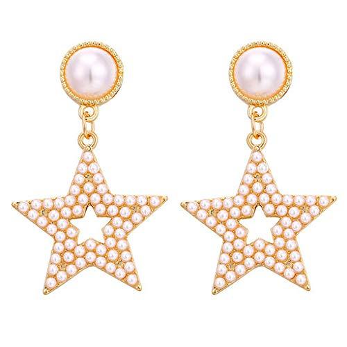 Cathy Clara Simple Metal Pearl Geometric Round Rectangular Fivepointed Star Creative Earrings Ladies Jewelry for Women Sterling Silver Hoop Earrings