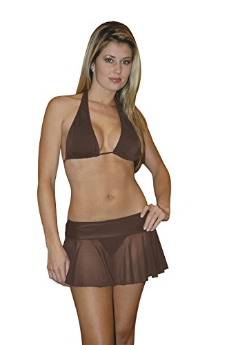 Chica Rica Women's Sheer Mesh Mini Skirt Chocolate One Size Fits Most