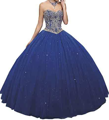 5aab0f1097 HuaMao Women s Sweetheart Girls 15 16 Crystal Prom Party Pageant Quinceanera  Dresses