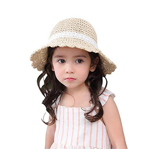 Baby Toddler Kids Girls Straw Sun Hat with Bowknot Floppy Wide Brim Beach Summer Protection Hats Adjustable Size]()