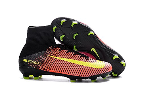 Men's High Ankle Soccer Shoes Nike Mercurial Superfly V FG Orange/Pink (US 9.5) by Petra-Anelia