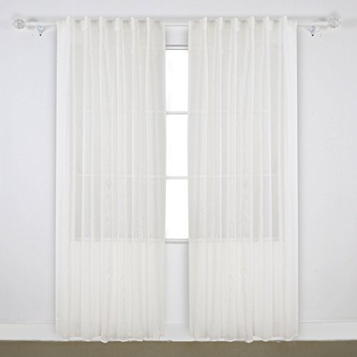 deconovo back tap linen look vertical stripe sheer white curtain sheer window curtains for kitchen 52 by 84 inch white 1 pair