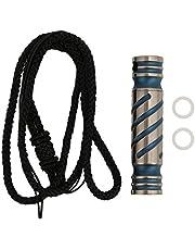 Botella de píldora impermeable-aleación de titanio botella de píldora de supervivencia impermeable al aire libre con collar para camping de emergencia(Rayas azules)