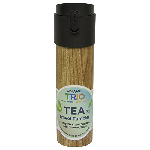 Casaware Trio Tea Infuser - Filter - Travel Tumbler with 2-way Leaf Compartment 16 Ounce (Teak)