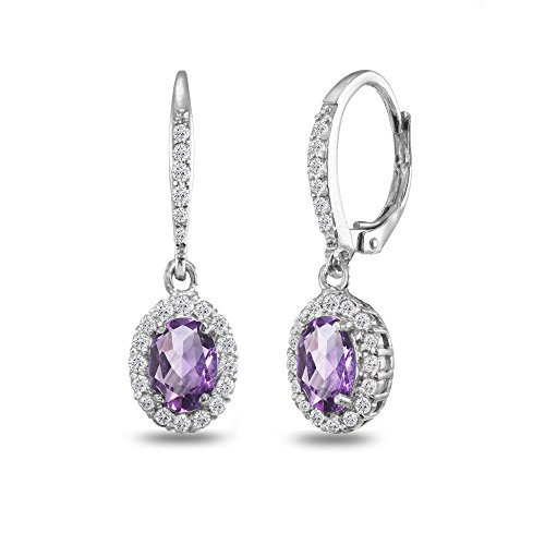 Sterling Silver Amethyst Oval Dangle Halo Leverback Earrings with White Topaz Accents