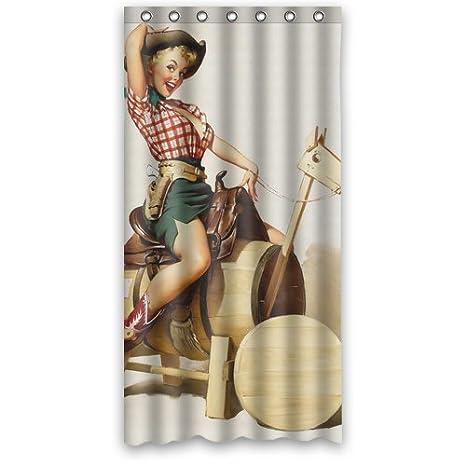 Custom Personalized Western Cowgirl Shower Curtain 36 X 72