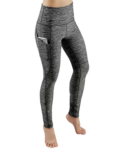 ODODOS High Waist Out Pocket Yoga Pants Tummy Control Workout Running 4 Way Stretch Yoga Leggings,CharcoalHeather,XX-Large