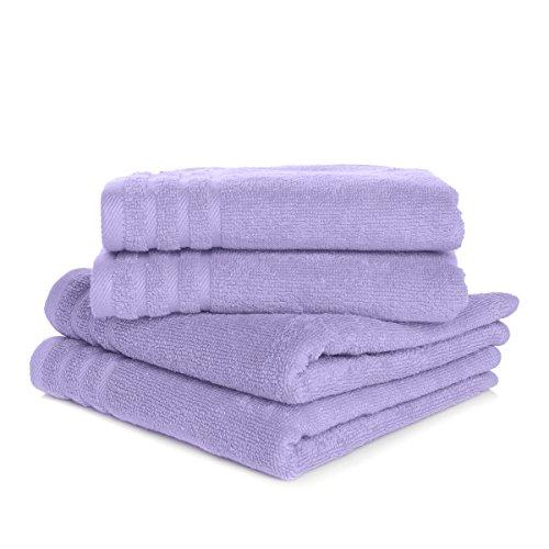 Joy Mangano Supreme Stretch S/4 Washcloths Lavender Towel Sets, Wash Cloths,