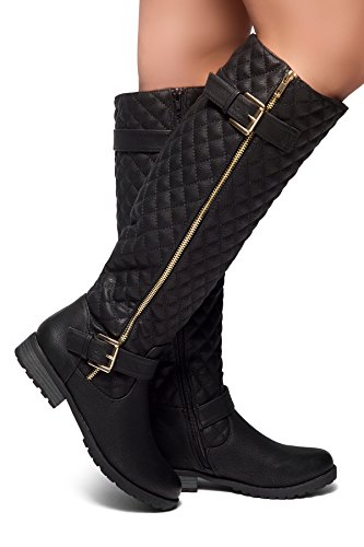 - Herstyle Women's Lorreenn-Hi Women's Quilted Leatherette Buckle Decor Round Toe Motorcycle Riding Knee-hi Boots