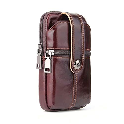 Price comparison product image 4-Seasons Men's Premium Cowhide Leather Wallet Case,Universal 6.3-inch Dual Zipper Purse Waist Pack+2 Phone Bag Pouch iPhone Xs Max/6s/7 Plus,Galaxy Note 9/S8/S7 Edge/J7/J3,Huawei Honor V10,LG G5
