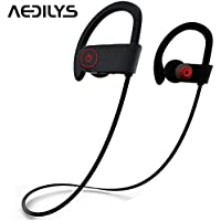 Bluetooth Headphones, AEDILYS Wireless Headset V4.1 EDR with Mic IPX7 Waterproof ,HD Stereo ,Sweatproof Earbuds Great for Gym, Running and Workout