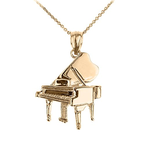 14k Yellow Gold Music Charm Grand Piano Pendant Necklace, 22