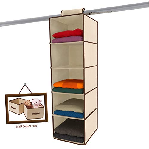 - Ziz Home Hanging Closet Organizer | 5 Shelf Beige | Closet Hanging Organizer | Closet Organizer Hanging Shelves | Sweater Hanging Organizer | Hanging Clothes Storage Box Hanging Shelf Closet Organizer