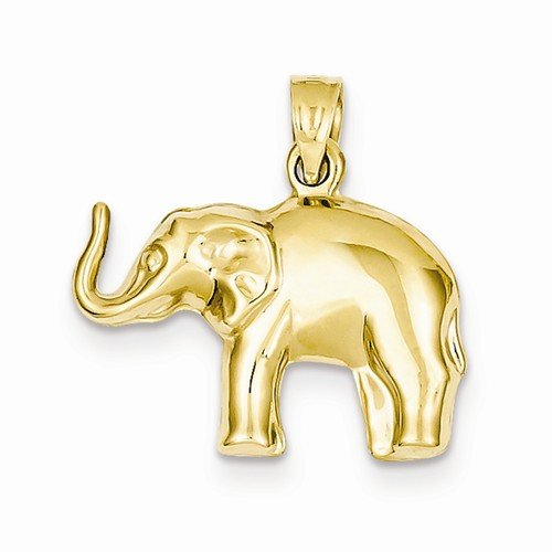 Solid 14k Yellow Gold Elephant Pendant (21mm x 21mm) (Pendant Elephant Yellow Gold)