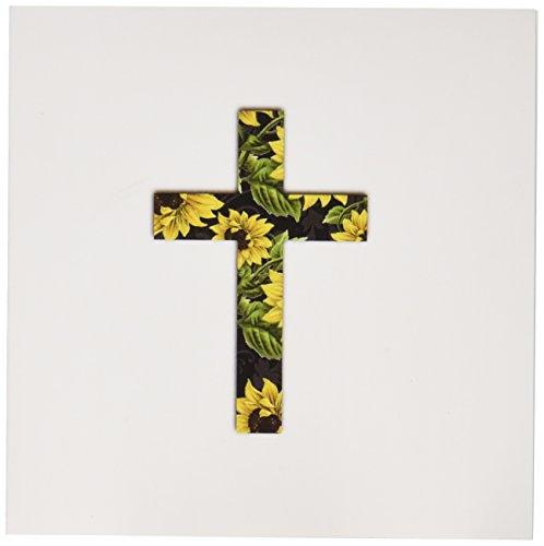 Pattern Yellow Cross (3dRose Set of 12 Greeting Cards, Sunflower Pattern Christian Cross (gc_185475_2))