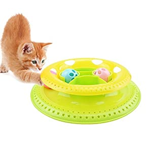 Gounia Interactive Tower of Tracks for Kitten, Cat Track Ball Toy Cat Feeder Toy Play Exercise Lightweight Kitty Roller Ball Toy by Gounia