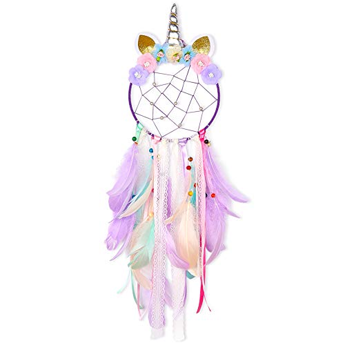 Beinou Unicorn Dream Catcher Colorful Feather Dream Catchers Handmade Flowers Dream Catchers DIY Dream Catcher for Girls Kids Nursery Bedroom Wall Hanging Decoration Blessing Gift