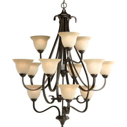 Bronze Foyer Three Forged Light (Progress Lighting P4419-77 12-Light Three-Tier Torino Chandelier, Forged Bronze)