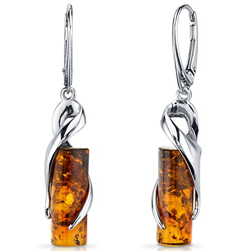 Baltic Amber Elliptical Earrings Sterling Silver Cognac Color Cylindrical Shape