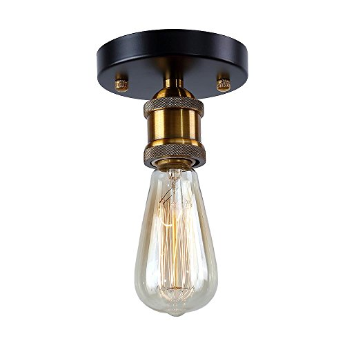 Herogen Vintage Mini size Semi Flush Mount Ceiling Light Fixture without Lampshade,1 Head E26 Lamp Ceramics Holder