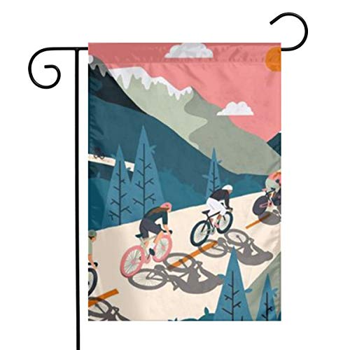 Ohjigttf Home Decorative Outdoor Two-Sided Garden Flag Bicycle Race 12