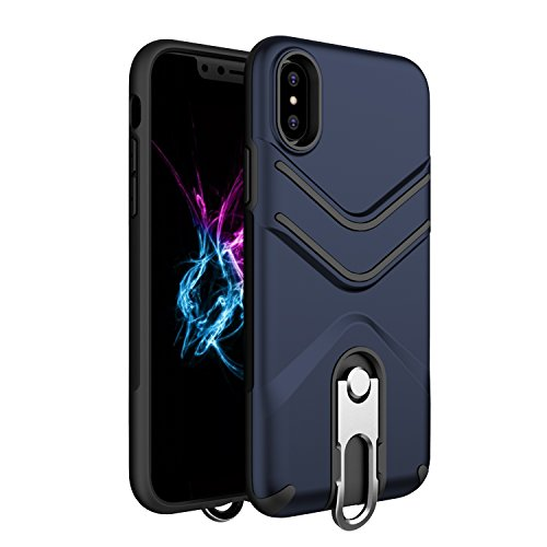 iPhone X Case, iPhone 10 Case, Suordii Lanyard Strap Case Dual Layer Hybrid Protective Case with Metal Kickstand for Apple iPhone X/10 Shockproof Cover (dark blue)