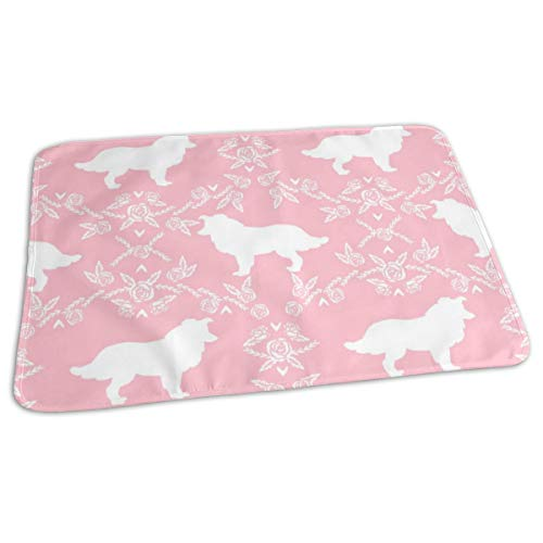 Sil Border - Border Collie SIL Floral Pink Waterproof Diaper Changing Pad, Large Size (25.5