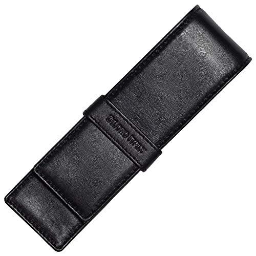 DiLoro Double Pen Case Pouch Holder for Two Pens or Pencils Genuine Full Grain Nappa Leather (Black Nappa) (Double Fountain)