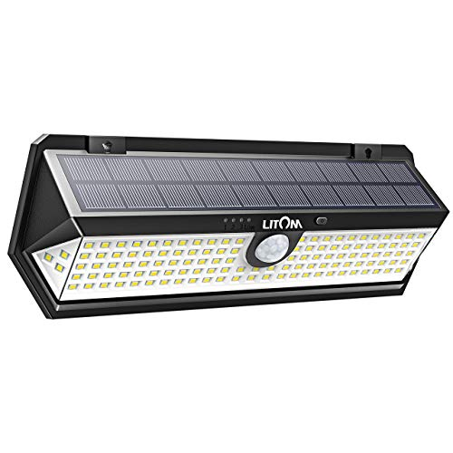 Litom Solar Lights Outdoor, 122 Led Solar Motion Sensor Lights with Wide Angle, Easy to Install, IP65 Waterproof Solar Lights for Front Door, Yard, Garage, Deck-5 Pack