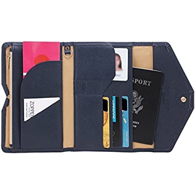 Zoppen Mulit-purpose Rfid Blocking Travel Passport Wallet (Ver.4) Trifold Document Organizer Holder, Navy Blue