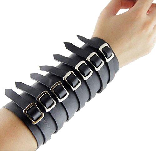Faux Leather Buckle Gothic Style Adjustable Gauntlet (Batman Bracers)