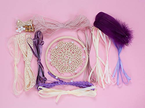 DIY dream catcher kit Crafts for kids Do it yourself for adults Party Activity crafting set Diam 6.2 inch(15.5 cm) Purple Beige from WORLDREAMER