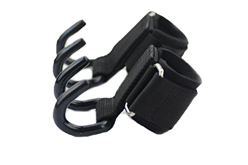 Lifting Rod Hooks Grip 6 mm Thick Neoprene Padded Wrist Wraps Non Slip Resistant Coating Power Weight Lifting Training Gym Grips Straps (Pair)