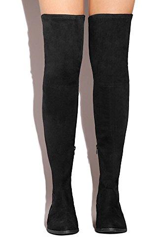 Lol Di Lussuria Per La Vita Di Livello Elusivo Ribelle Over-the-knee Stivali Alti Fiit Flat Up Neri Radikal