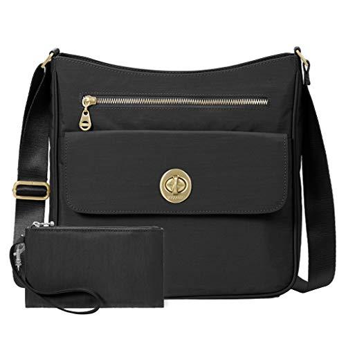 Baggallini Antalya Top Zip Flap Crossbody Bag Travel Wristylet (Black)