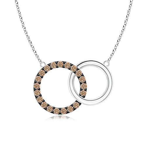 Interlocking Coffee Diamond Circle Necklace Pendant in 14K White Gold (1.1mm Coffee Diamond)
