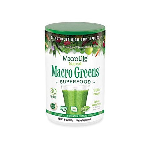 Macro Greens Superfood - 18 Billion Non-Dairy Probiotic Cultures - Raw Green Superfood With Concentrated Polyphenols - Certified Organic Barley Grass Powder - 5+ Servings Of Fruits & Vegetables (Green Powder Fruit)