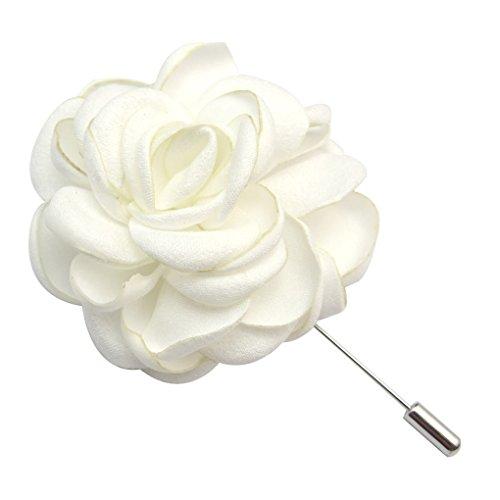 - ZAKIA Men's Flower Lapel Pin Brooch Handmade Boutonniere for Suit (White)