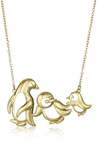 18k Yellow Gold Plated Sterling Silver Penguin Family Necklace, 18