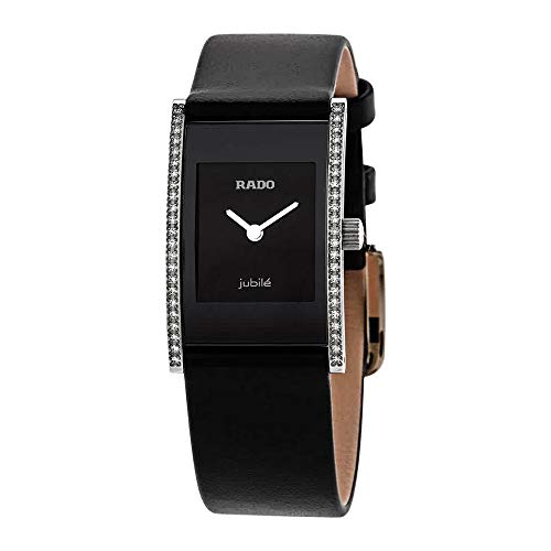 - Rado Integral Jubile Black Dial Leather Strap Ladies Watch R20759155