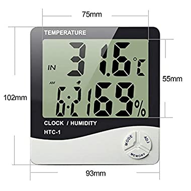 HTC-1 - BFHTC-1Humidity Time Display Meter with Alarm Clock, Wall Mount or Table Top, Multicolour 10