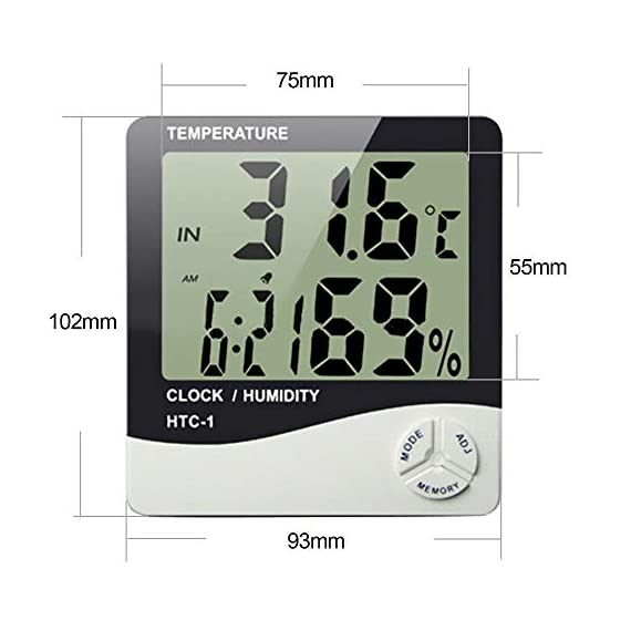 HTC-1 - BFHTC-1Humidity Time Display Meter with Alarm Clock, Wall Mount or Table Top, Multicolour 3