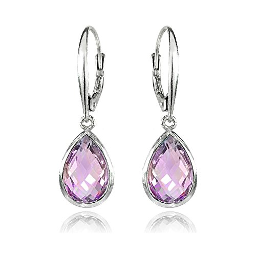 Sterling Silver Amethyst Teardrop Dainty Leverback Dangle Earrings by GemStar USA
