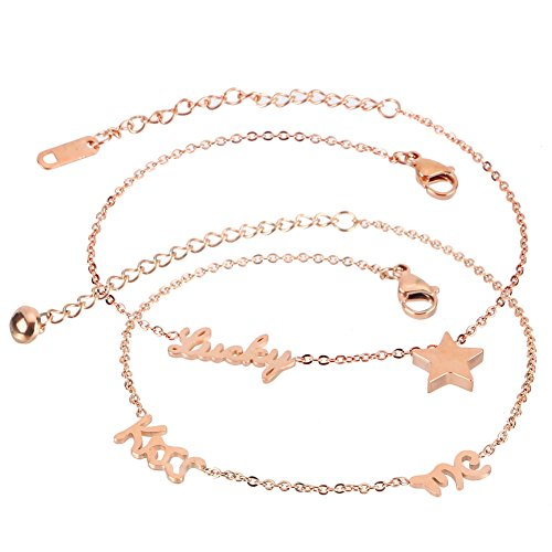 XIAOLI 2 Pcs Starfish Turquoise Ankle Beach Wedding Barefoot Sandals Bracelet Anklets (Stainless steel anklet -
