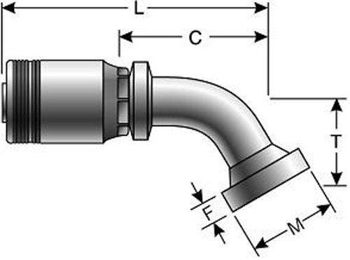 "B00KGX4CR8 Gates 32GSM-32FLC60-083 GlobalSpiral Series MAX Pressure Couplings, Caterpillar Style O-Ring Flange, 60 Degree Bent Tube, 2\"" ID 81yg43DSiLL._SL1500_"